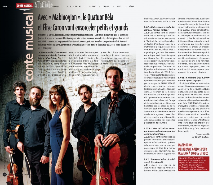 Le Mabinogion, Interview de Julian Boutin par Celia Di Girolamo